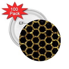 Hexagon2 Black Marble & Gold Foil 2 25  Buttons (100 Pack)  by trendistuff