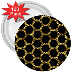 Hexagon2 Black Marble & Gold Foil 3  Buttons (100 Pack)  by trendistuff
