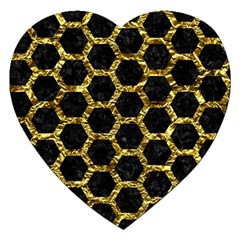 Hexagon2 Black Marble & Gold Foil Jigsaw Puzzle (heart) by trendistuff