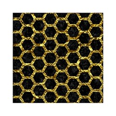 Hexagon2 Black Marble & Gold Foil Acrylic Tangram Puzzle (6  X 6 ) by trendistuff