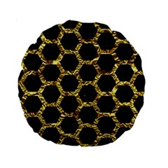 Hexagon2 Black Marble & Gold Foil Standard 15  Premium Round Cushions by trendistuff