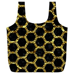 Hexagon2 Black Marble & Gold Foil Full Print Recycle Bags (l)  by trendistuff