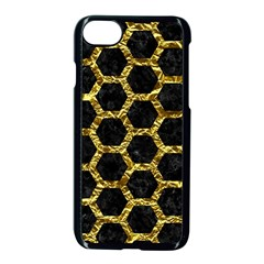 Hexagon2 Black Marble & Gold Foil Apple Iphone 7 Seamless Case (black) by trendistuff