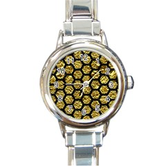 Hexagon2 Black Marble & Gold Foil (r) Round Italian Charm Watch by trendistuff