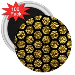 Hexagon2 Black Marble & Gold Foil (r) 3  Magnets (100 Pack) by trendistuff