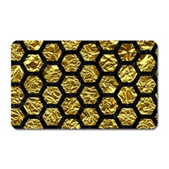 Hexagon2 Black Marble & Gold Foil (r) Magnet (rectangular) by trendistuff
