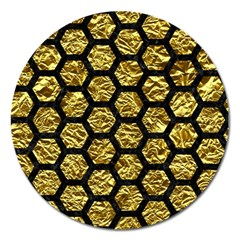 Hexagon2 Black Marble & Gold Foil (r) Magnet 5  (round) by trendistuff