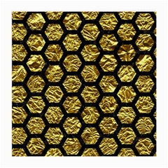 Hexagon2 Black Marble & Gold Foil (r) Medium Glasses Cloth by trendistuff