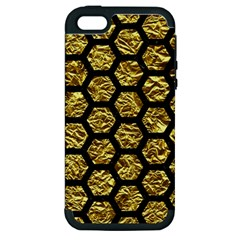 Hexagon2 Black Marble & Gold Foil (r) Apple Iphone 5 Hardshell Case (pc+silicone) by trendistuff