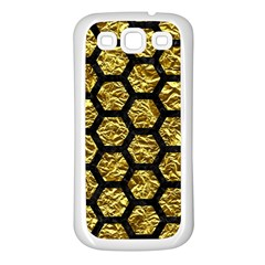 Hexagon2 Black Marble & Gold Foil (r) Samsung Galaxy S3 Back Case (white) by trendistuff