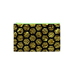 Hexagon2 Black Marble & Gold Foil (r) Cosmetic Bag (xs) by trendistuff
