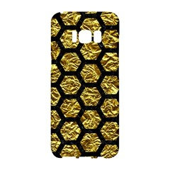 Hexagon2 Black Marble & Gold Foil (r) Samsung Galaxy S8 Hardshell Case  by trendistuff