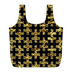 Puzzle1 Black Marble & Gold Foil Full Print Recycle Bags (l)  by trendistuff