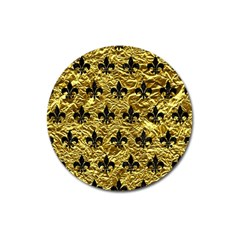 Royal1 Black Marble & Gold Foil Magnet 3  (round) by trendistuff