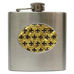 Royal1 Black Marble & Gold Foil Hip Flask (6 Oz) by trendistuff