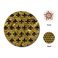 Royal1 Black Marble & Gold Foil Playing Cards (round)
