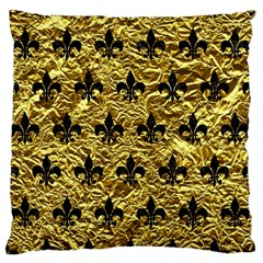 Royal1 Black Marble & Gold Foil Large Flano Cushion Case (two Sides) by trendistuff