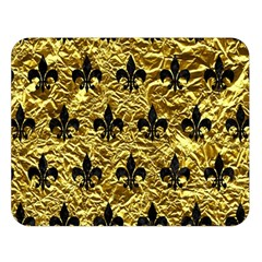 Royal1 Black Marble & Gold Foil Double Sided Flano Blanket (large)  by trendistuff