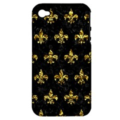 Royal1 Black Marble & Gold Foil (r) Apple Iphone 4/4s Hardshell Case (pc+silicone) by trendistuff