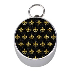 Royal1 Black Marble & Gold Foil (r) Mini Silver Compasses by trendistuff