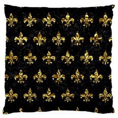 Royal1 Black Marble & Gold Foil (r) Large Flano Cushion Case (two Sides) by trendistuff