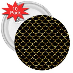 Scales1 Black Marble & Gold Foil 3  Buttons (10 Pack)  by trendistuff