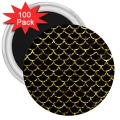 Scales1 Black Marble & Gold Foil 3  Magnets (100 Pack) by trendistuff