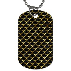 Scales1 Black Marble & Gold Foil Dog Tag (two Sides) by trendistuff