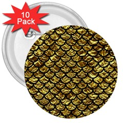 Scales1 Black Marble & Gold Foil (r) 3  Buttons (10 Pack)  by trendistuff