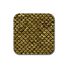 Scales1 Black Marble & Gold Foil (r) Rubber Coaster (square)  by trendistuff