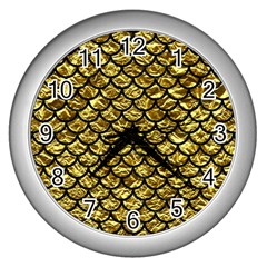 Scales1 Black Marble & Gold Foil (r) Wall Clocks (silver)  by trendistuff