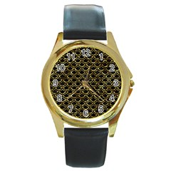 Scales2 Black Marble & Gold Foil Round Gold Metal Watch by trendistuff