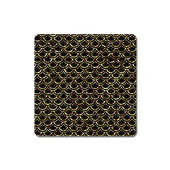 Scales2 Black Marble & Gold Foil Square Magnet by trendistuff