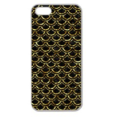 Scales2 Black Marble & Gold Foil Apple Seamless Iphone 5 Case (clear) by trendistuff