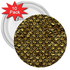 Scales2 Black Marble & Gold Foil (r) 3  Buttons (10 Pack)  by trendistuff