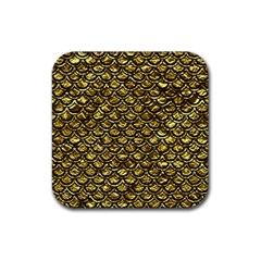 Scales2 Black Marble & Gold Foil (r) Rubber Square Coaster (4 Pack)  by trendistuff