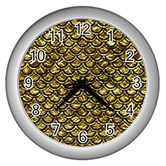 Scales2 Black Marble & Gold Foil (r) Wall Clocks (silver)  by trendistuff