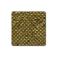 Scales2 Black Marble & Gold Foil (r) Square Magnet by trendistuff