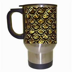 Scales2 Black Marble & Gold Foil (r) Travel Mugs (white) by trendistuff
