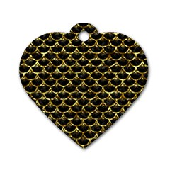 Scales3 Black Marble & Gold Foil Dog Tag Heart (one Side) by trendistuff