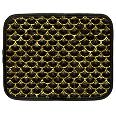 Scales3 Black Marble & Gold Foil Netbook Case (large)