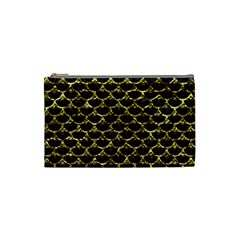 Scales3 Black Marble & Gold Foil Cosmetic Bag (small)  by trendistuff