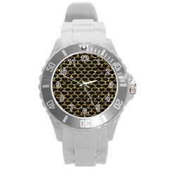 Scales3 Black Marble & Gold Foil Round Plastic Sport Watch (l) by trendistuff