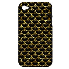 Scales3 Black Marble & Gold Foil Apple Iphone 4/4s Hardshell Case (pc+silicone) by trendistuff