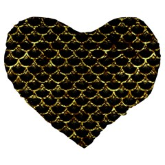 Scales3 Black Marble & Gold Foil Large 19  Premium Flano Heart Shape Cushions by trendistuff