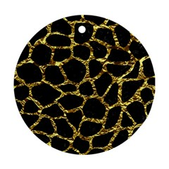 Skin1 Black Marble & Gold Foil (r) Round Ornament (two Sides) by trendistuff