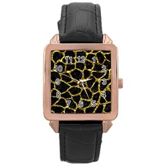 Skin1 Black Marble & Gold Foil (r) Rose Gold Leather Watch  by trendistuff