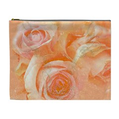 Flower Power, Wonderful Roses, Vintage Design Cosmetic Bag (xl) by FantasyWorld7