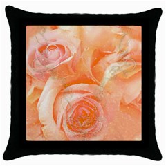 Flower Power, Wonderful Roses, Vintage Design Throw Pillow Case (black) by FantasyWorld7