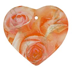 Flower Power, Wonderful Roses, Vintage Design Heart Ornament (two Sides) by FantasyWorld7